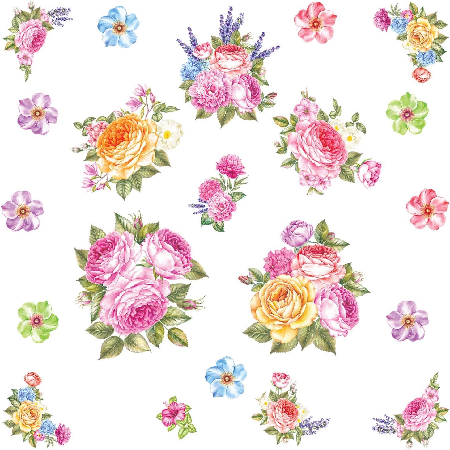 Pegatinas de Pared Flores Acuarela Rosa Calcomanía Floral Romántico para Habitación Dormitorio Sala de Estar Interior Provenzal