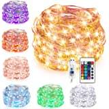 Kohree String Light Copper Wire Fairy Light 40ft 120LEDs Seasonal Decor Rope Lights with Remote Control & UL Certified 3.5V Power Adapter for Holiday Wedding Parties, Warm White, HP420