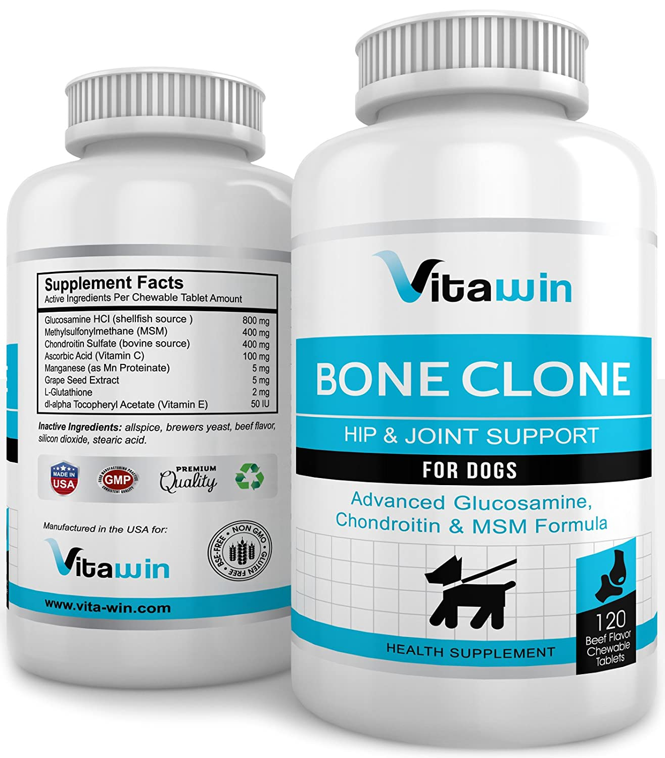 Advanced Glucosamine for Dogs 800MG 120 Chew Tabs for Hips & Joints Plus Chondroitin 400mg + MSM 400mg Best Value per tablet on Amazon Vet Approved Double Strength Formula Maximum Mobility Pain Relief Nutritional Dog Supplement