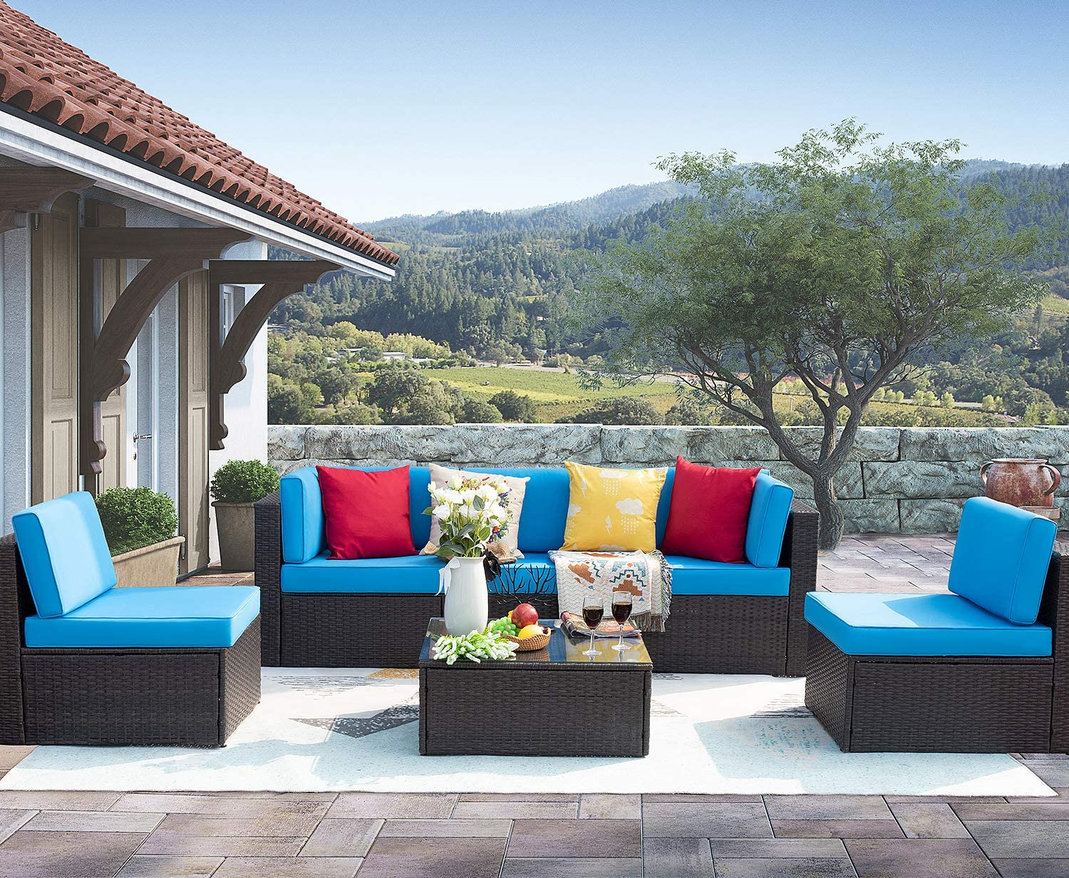 Homall 6 Pieces Patio Outdoor Furniture Sectional Sofa Set | Coffee Table and Washable Couch Cushions | Blue