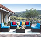 Homall 6 Pieces Patio Outdoor Furniture Sets, Low Back All-Weather Rattan Sectional Sofa Manual Weaving Wicker Conversation Set with Coffee Table and Washable Couch Cushions (Blue)