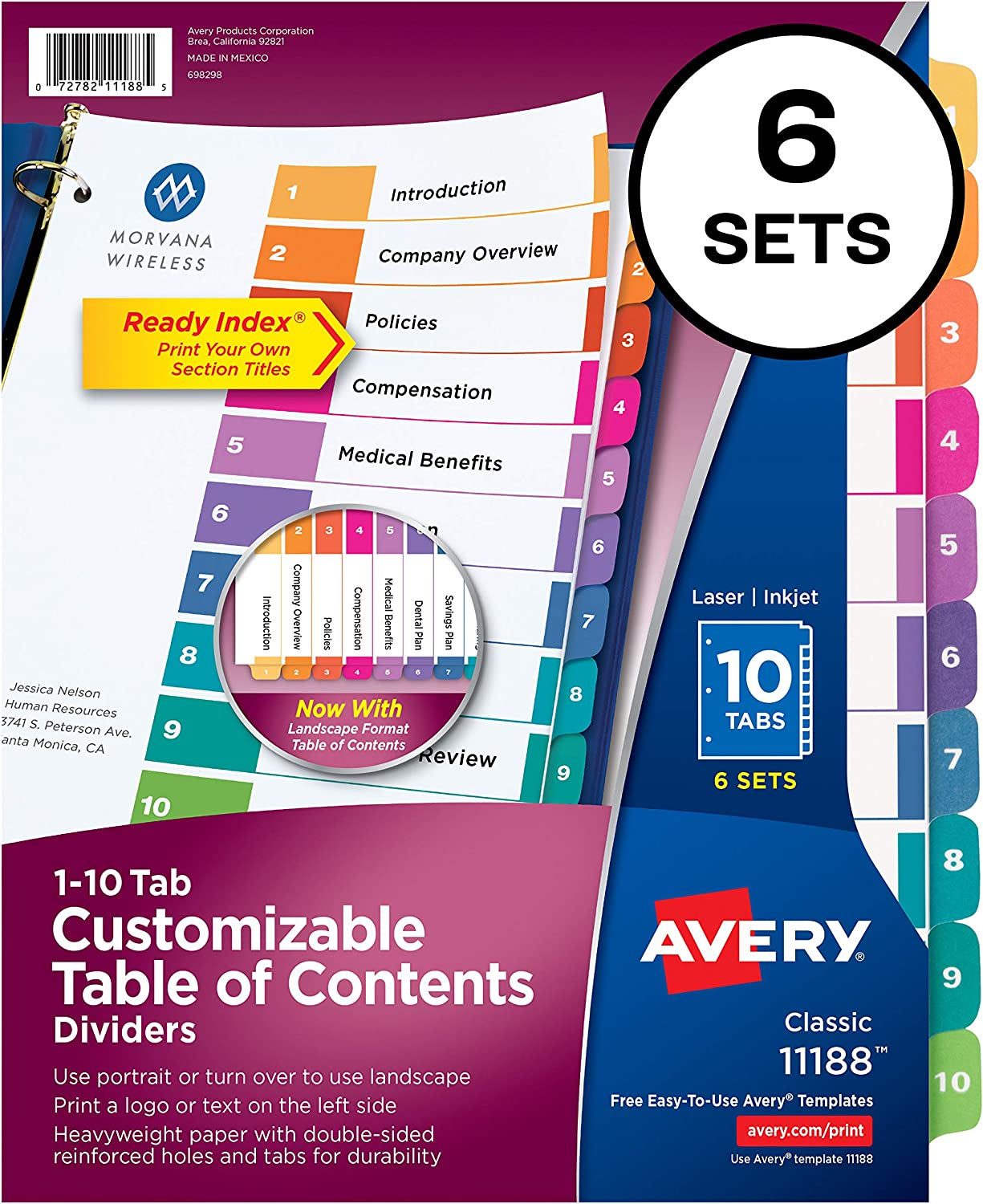 B00006IBW5 Avery 10-Tab Dividers for 3 Ring Binders, Customizable Table of Contents, Multicolor Tabs, 6 Sets (11188) 81SCjDd-B7L