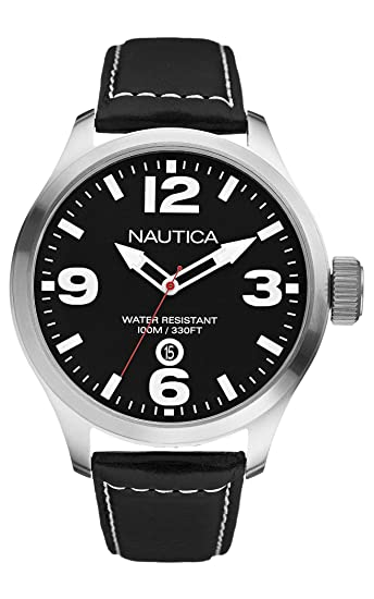 Nautica N12561G - Reloj de Pulsera Hombre, Cuero, Color Negro: Nautica: Amazon.es: Relojes
