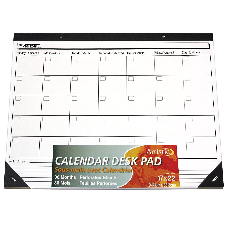 "artistic 17"" x 22"" undated monthly desk calendar pad"