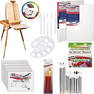 """U.S. Art Supply 62 Piece Acrylic Painting Kit with Coronado French Easel, Acrylic Paint, 16""""x20"""" Stretched Canvases, 11""""x14"""" Canvas Panels, Nylon Paint Brushes, Multipurpose Paint Brushes and More"""