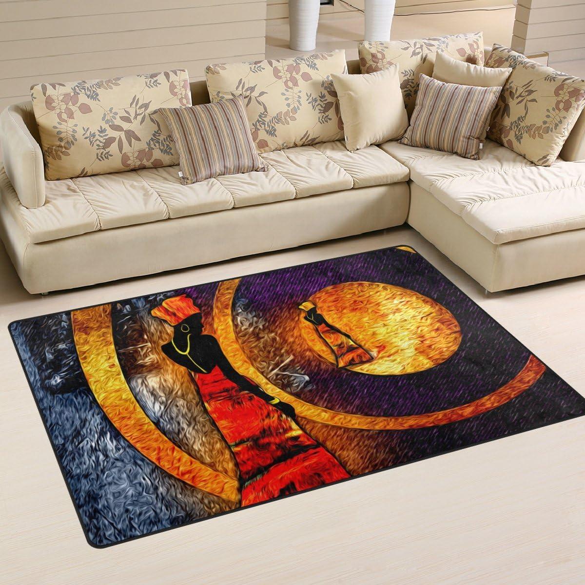 Yochoice Non-Slip Area Rugs Home Decor, African Motive Ethnic Retro Black Girl Floor Mat Living Room Bedroom Carpets Doormats 60 x 39 inches