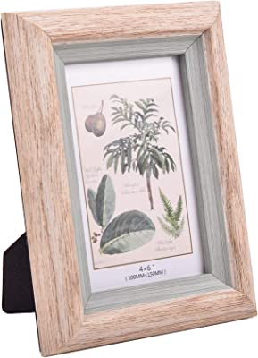 Hannah's Cottage 4x6Inch Picture Frame, Rustic Wood Grain Photo Frames Wall Table Top Display