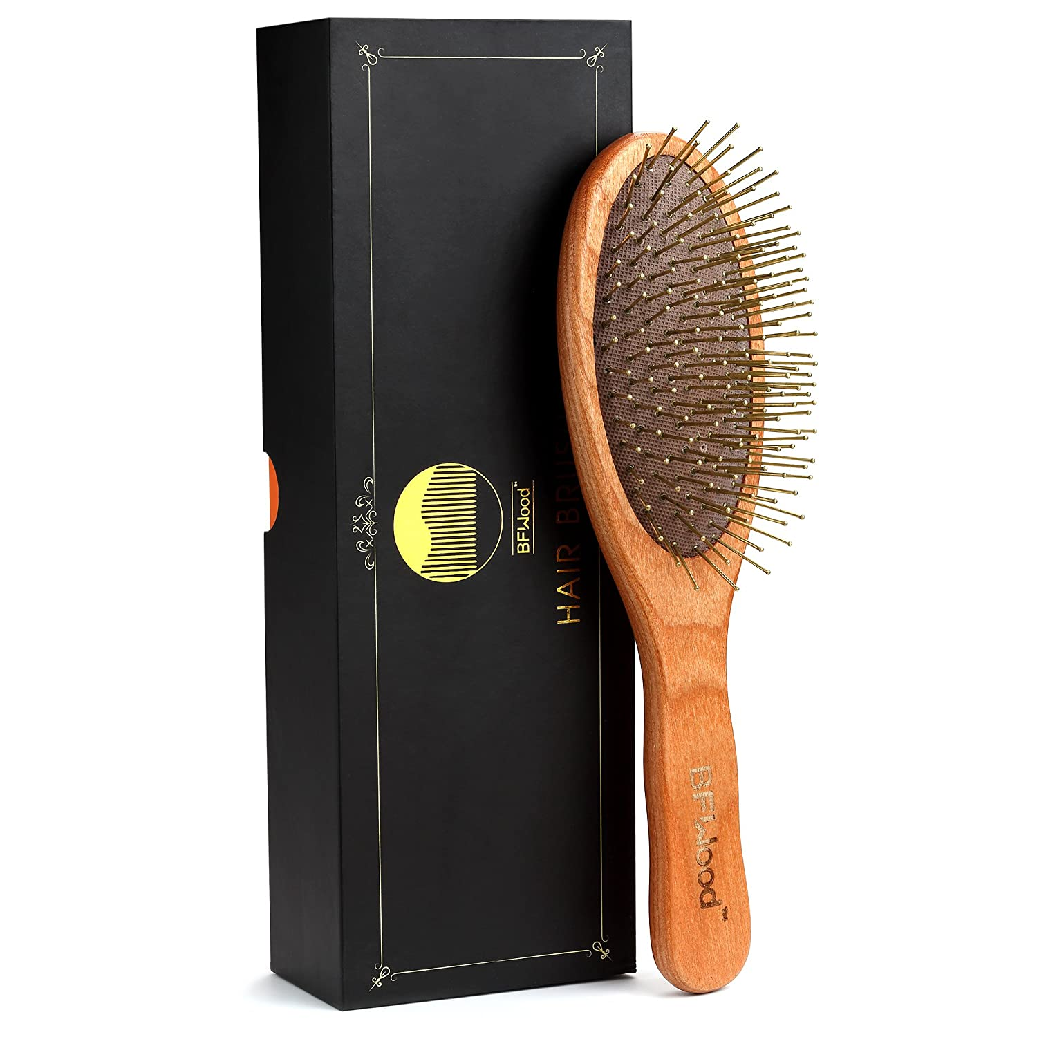 BFWood Detangling Brush for Thick and Curly Hair - Wooden Handle with Metal Bristles