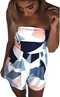 683ed26c8e ECOWISH Women Off Shoulder Romper Strapless Floral Print Striped Beach  Shorts Jumpsuit