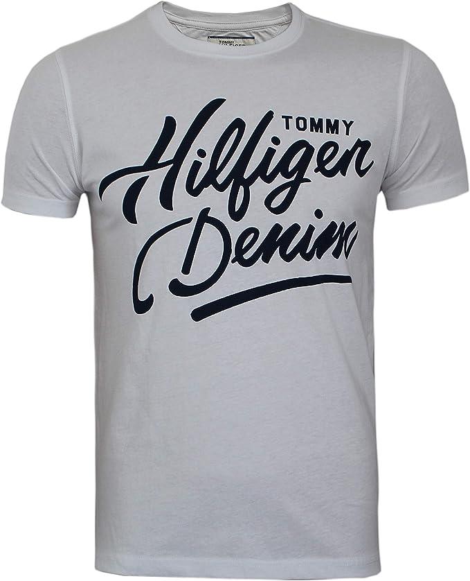Tommy Hilfiger - Camiseta - Redondo - Manga Corta - para Hombre Blanco Blanco XL: Amazon.es: Ropa y accesorios