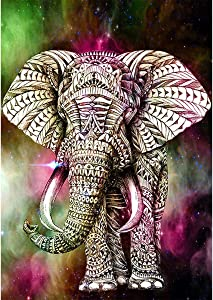 DIY 5D Diamond Painting by Number Kits,Elephant Animal Embroidery Rhinestone Cross Stitch Painting Wall Sticker for Wall Decor 11.8 x 15.8 inch