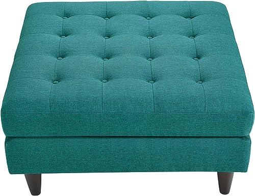 Modway EEI-2139-TEA Empress Mid-Century Modern Upholstered Fabric Large Ottoman