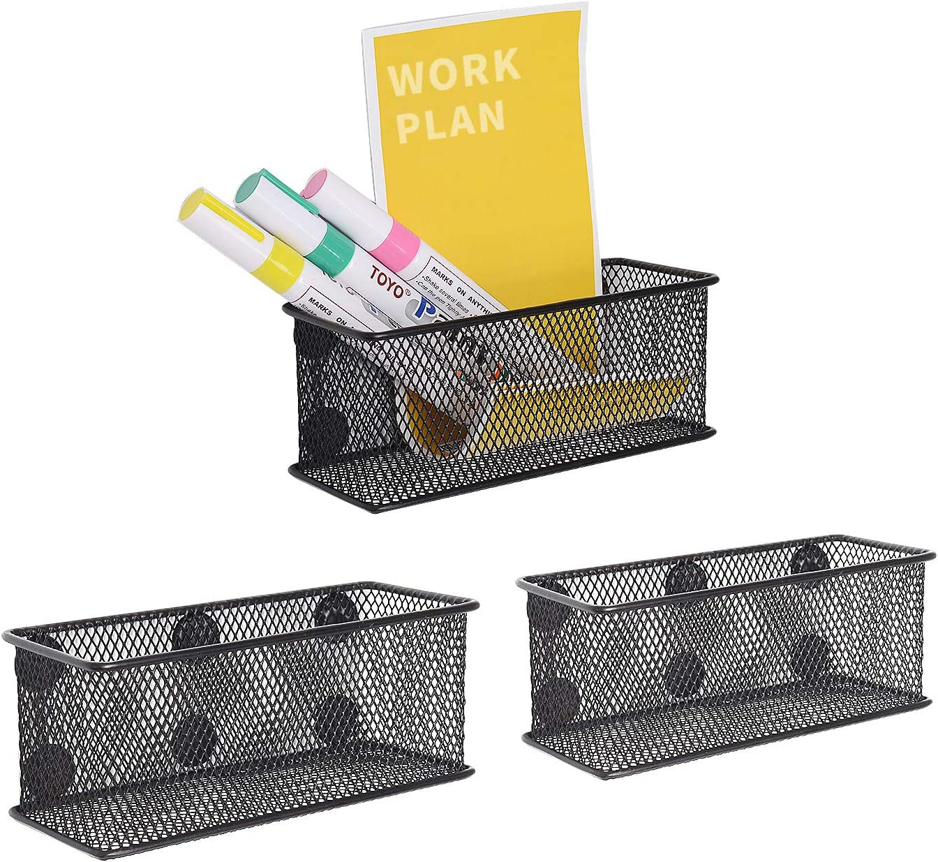 Wire Mesh Magnetic Organizer Set of 3 - Magnetic Storage Baskets Storage Tray with Strong Magnets Keep Your Office Clutter-Free Perfect for Whiteboard, Refrigerator,Black