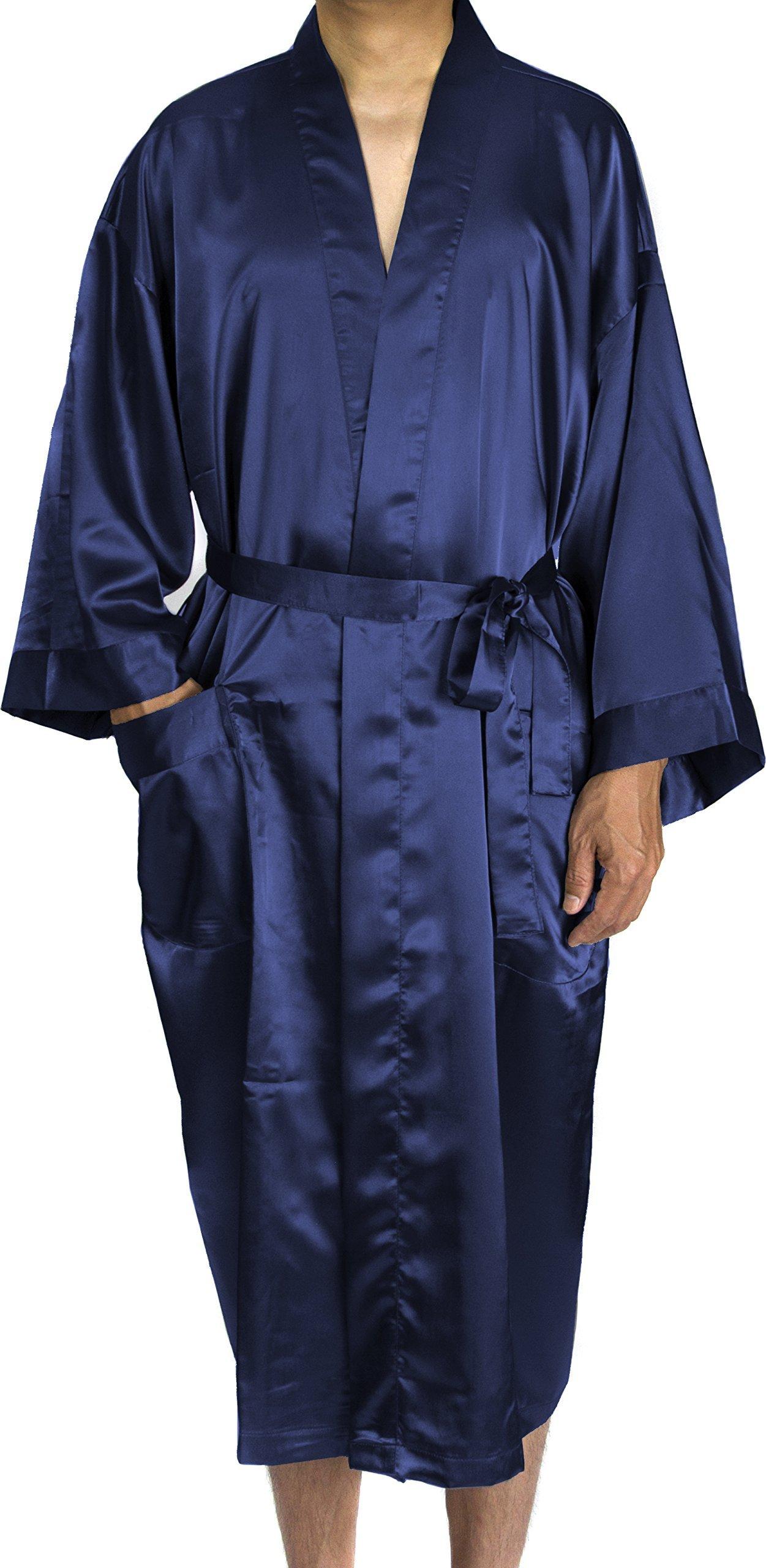 Leisureland Men Satin Robe Long Kimono Robe 48'' Navy Blue