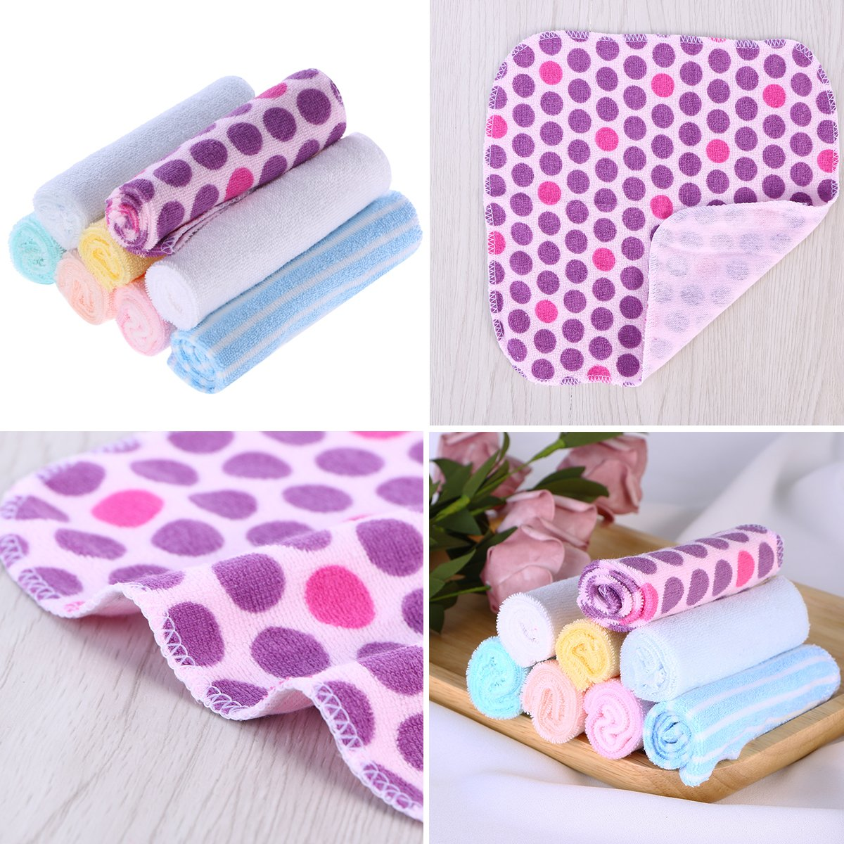 YeahiBaby 7.9 Baby Washcloths Face Towels - Soft Cotton, Pack of 8