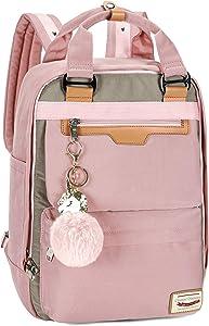Backpack Purse for Women Waterproof Girls Bookbags Elementary School College Laptop Bag (Large, Pink)