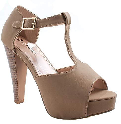 d30ba1a21f9 Top Moda Women s Table-1 Tan Peep Toe Platform Sandal Chunky Heel Closed  Back Pumps