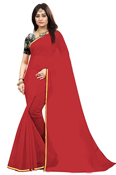 38c15e8b42674d SilverStar Women s Chanderi Cotton Plain Red Saree With Banglori Silk  Kalamkari Printed Blouse Piece  Amazon.in  Clothing   Accessories