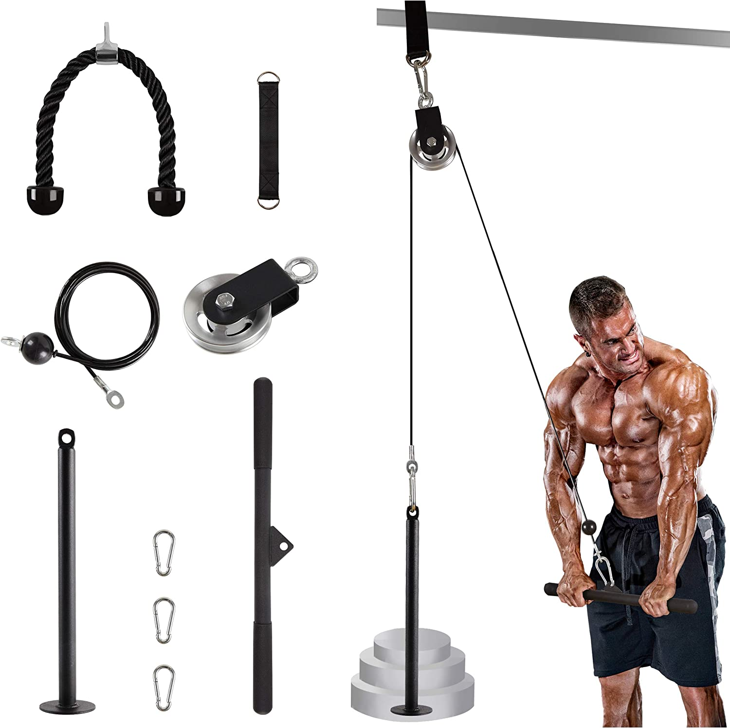 LAT Cable Pulley System Gym with Loading Pin Cable Machine Pulley Attachment for Tricep Pulldown, Biceps Curl, Back, Forearm, Shoulder - DIY Home Gym Equipment Beginner