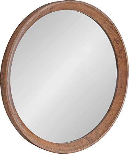 Kate and Laurel Hartman Transitional Round Wood Framed Wall Mirror, 30 Diameter, Brown, Boho Chic Round Mirror for Wall