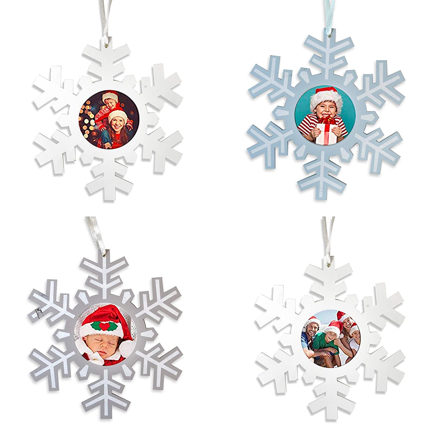 13cm by Robelli Pack of 4 Wooden Assorted Snowflake Photo Frame Christmas Tree Pendants