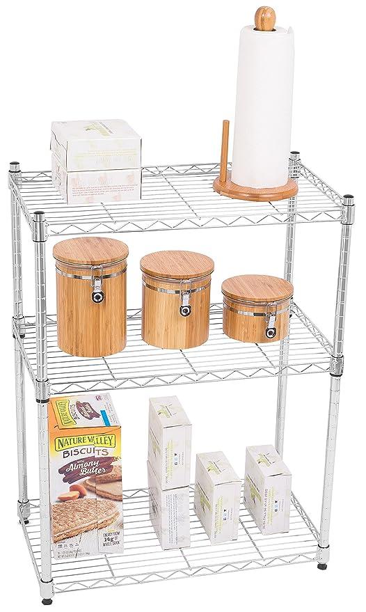 Internet\'s Best 3-Tier Wire Shelving - Chrome - Heavy Duty Shelf -  Adjustable Rack Unit - Kitchen Storage