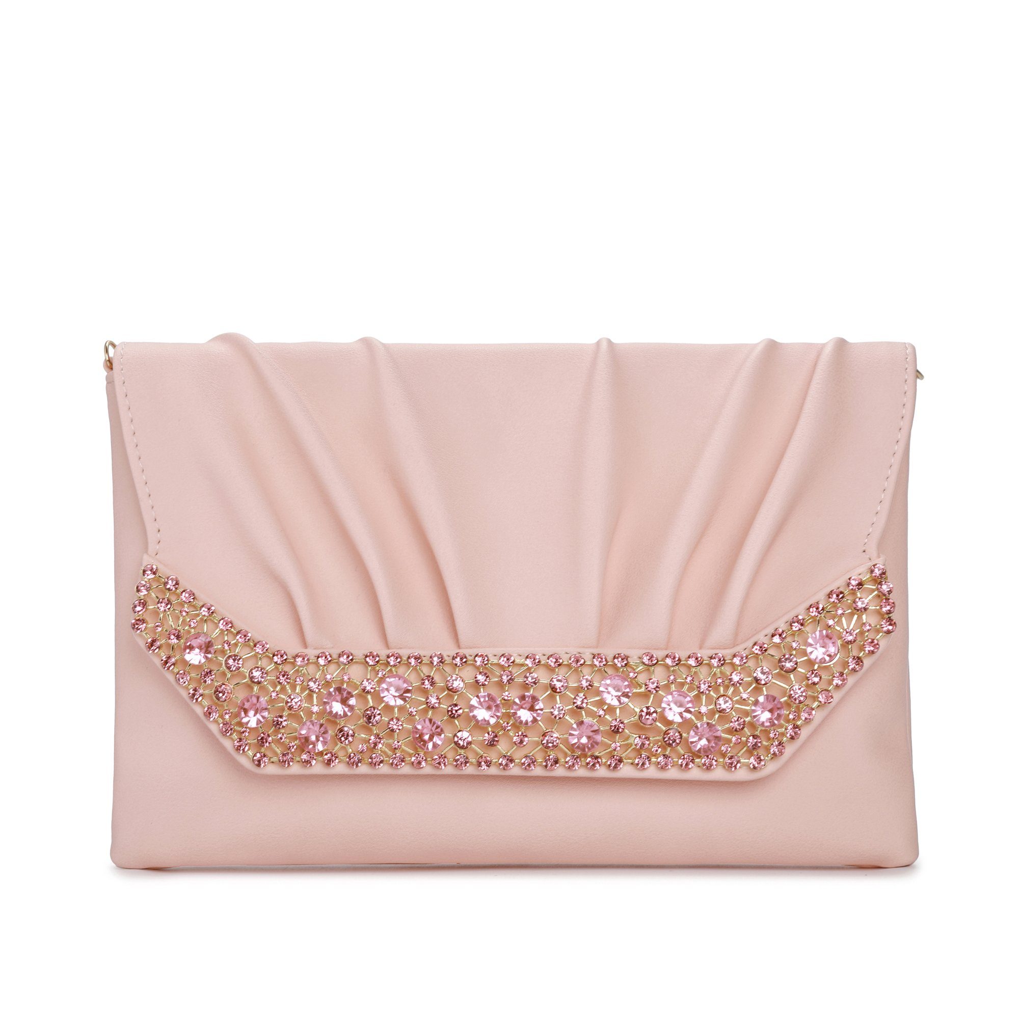 Evening Clutches Bags for Women, Envelope Clutch Wedding Purses With Chain Cross Body Shoulder Bag for Party Prom (Pink)