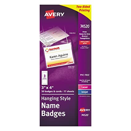 Amazon Avery Name Badges With Lanyards Print Or Write 3 X 4