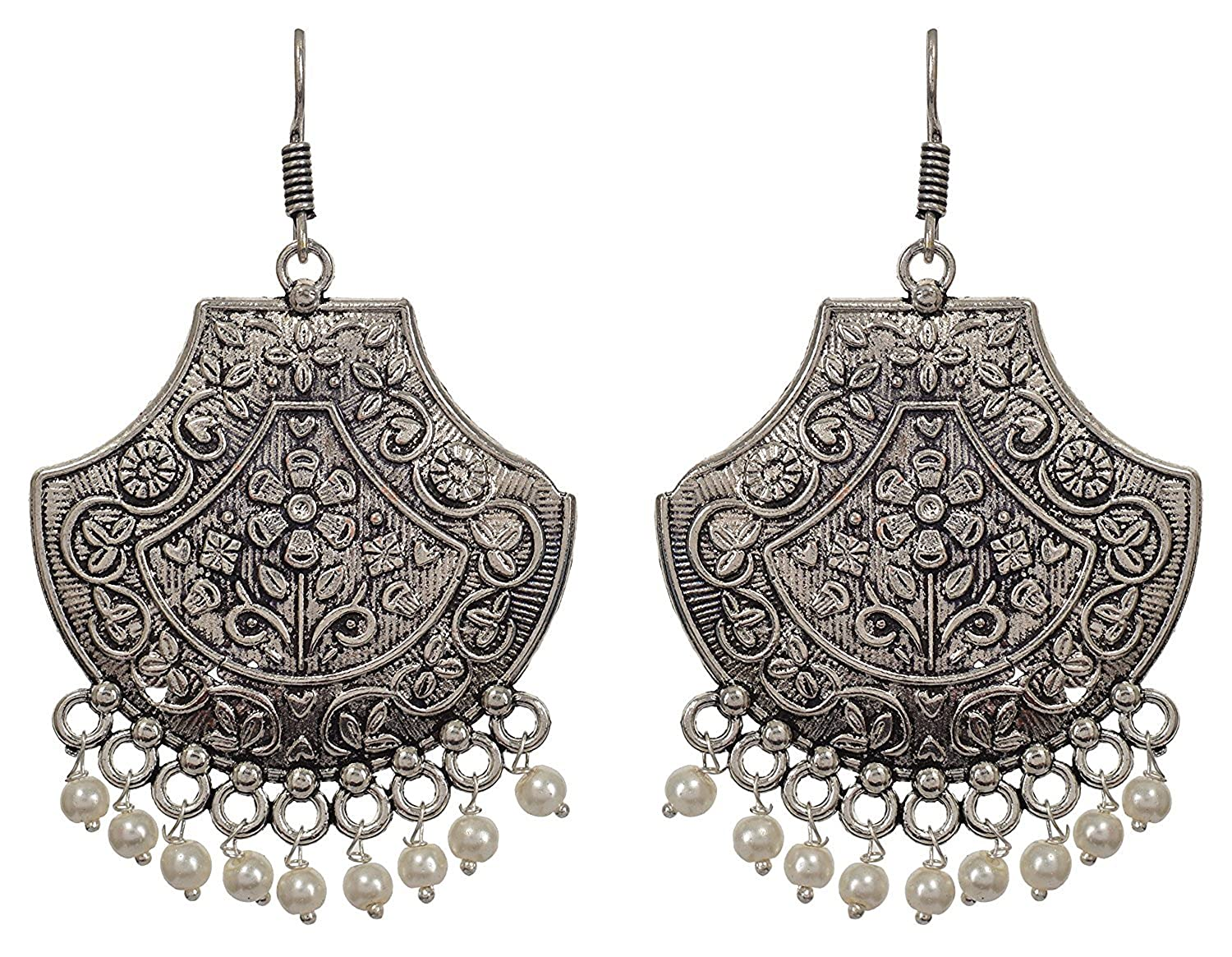 It/'s a White Color Beads Silver Style Dangle Earrings for Women /& Girls