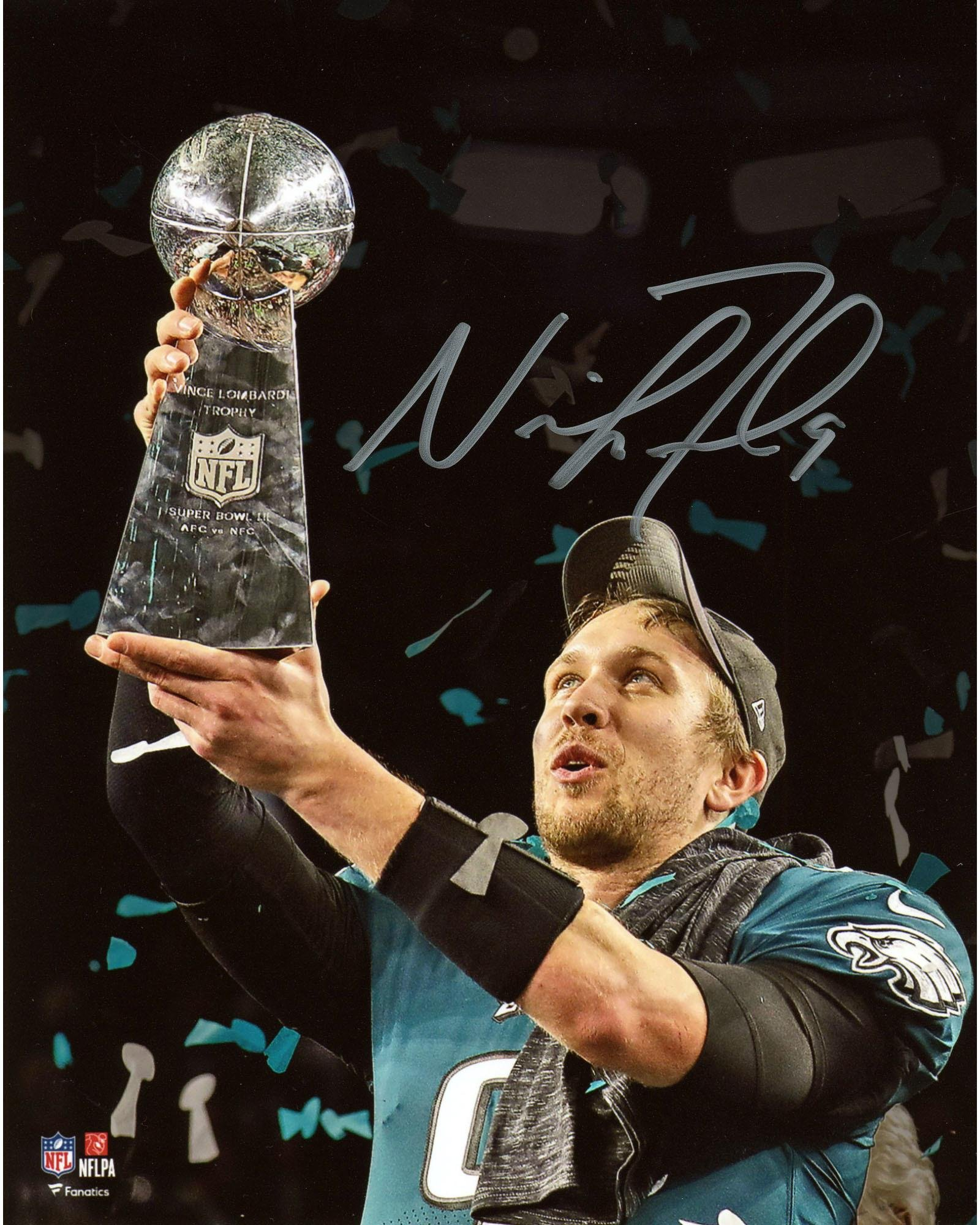 "Nick Foles Philadelphia Eagles Super Bowl LII Champions Autographed 8"" x 10"" Holding Trophy Photograph Fanatics Authentic Certified"