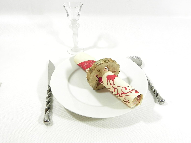 Rond de serviette en bois, porte serviette en bois pour décoration de table de noël