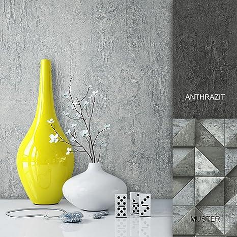 Steintapete Vliestapete Grau Edel Uni , schöne edle Tapete im Beton Optik  Design , moderne Optik für Wohnzimmer, Schlafzimmer oder Küche inklusive  der ...
