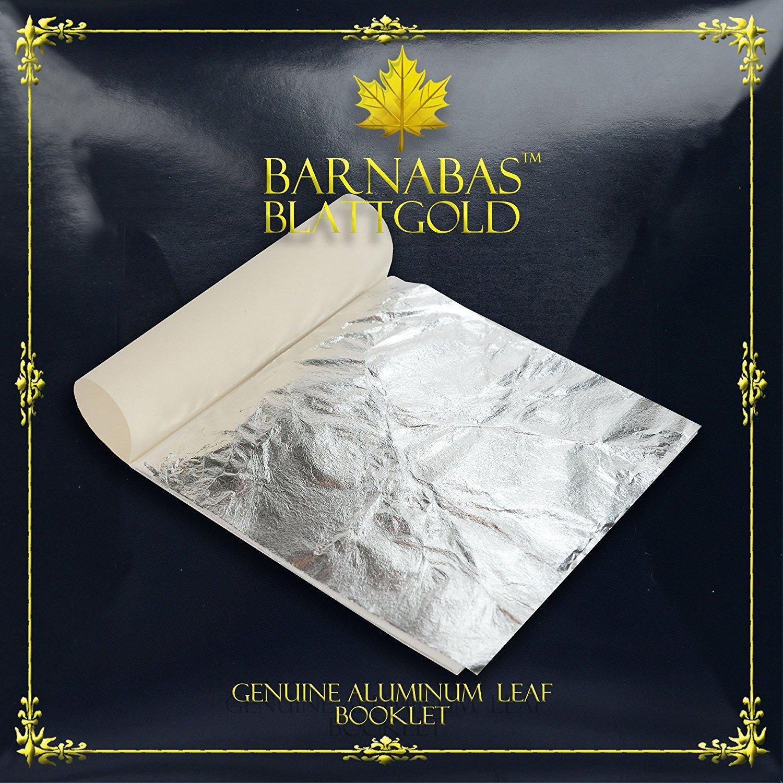Booklet der 25 Bl/ätter 14 X 14cm Barnabas Silberimitat Blatt Aluminium