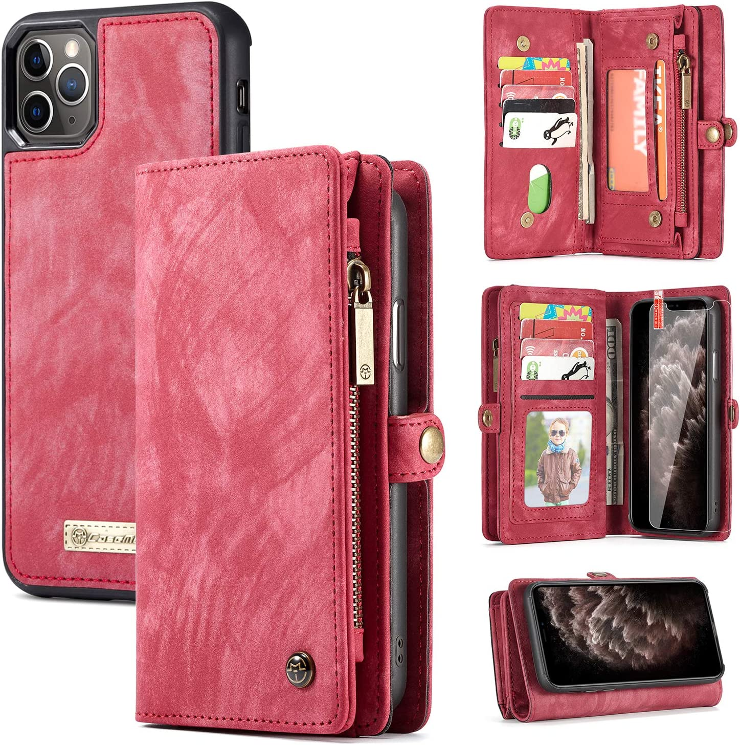 Zttopo iPhone 11 Pro Max Wallet Case, 2 in 1 Leather Zipper Detachable Magnetic 11 Card Slots Card Slots Money Pocket Clutch Cover with Screen Protector for 6.5 Inch