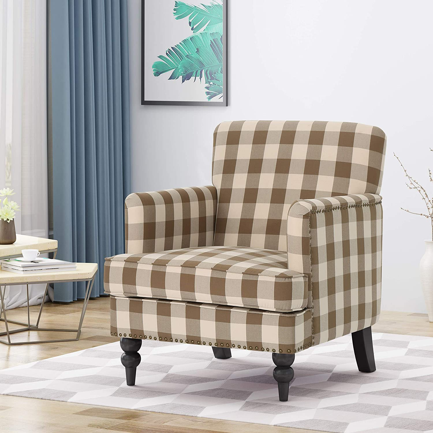 Christopher Knight Home 305561 Evete Tufted Fabric Club Chair, Brown Checkerboard, Dark Brown