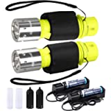 HECLOUD Scuba Diving Flashlight Snorkeling Dive Torch Light IPX8 Waterproof LED Submarine Underwater Lights with…