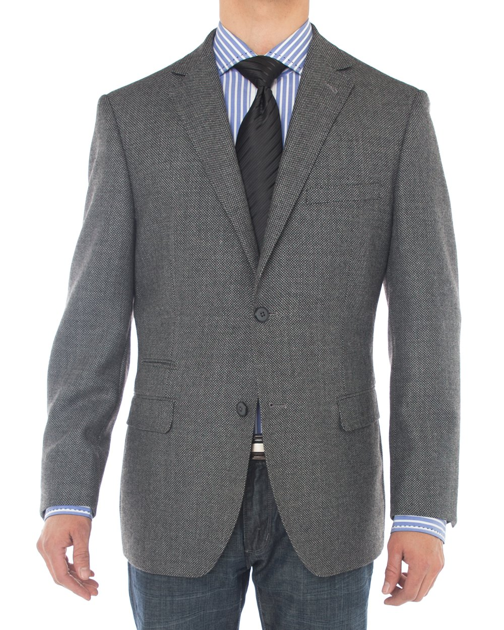 Luciano Natazzi Mens 2 Button 160'S Wool Blazer Working Button Holes Suit Jacket (44 Regular US / 54 Regular EU, Charcoal)