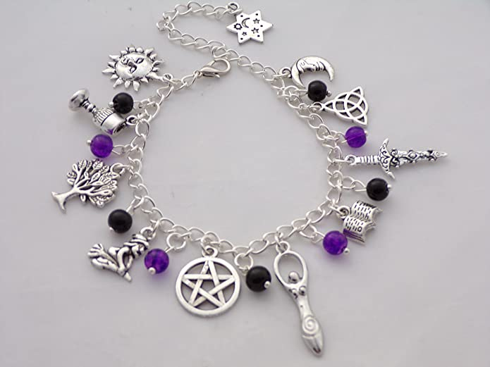Wiccan/pagan 10 tibetan silver Charm Bracelet with Black and Purple Glass Beads upUc7mEKmp