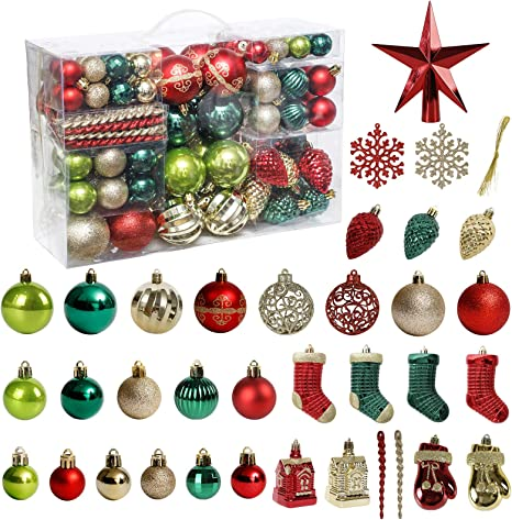 Amazon Com Christmas Tree Ornament 132pcs Christmas Tree Decoration Set Red Green Gold Christmas Ball Shatterproof Hanging Tree Ornament Assortment Set Kitchen Dining