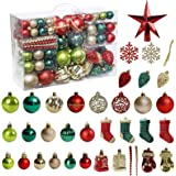 Christmas Tree Ornament, 132pcs Christmas Tree Decoration Set Red Green Gold Christmas Ball Shatterproof Hanging Tree…