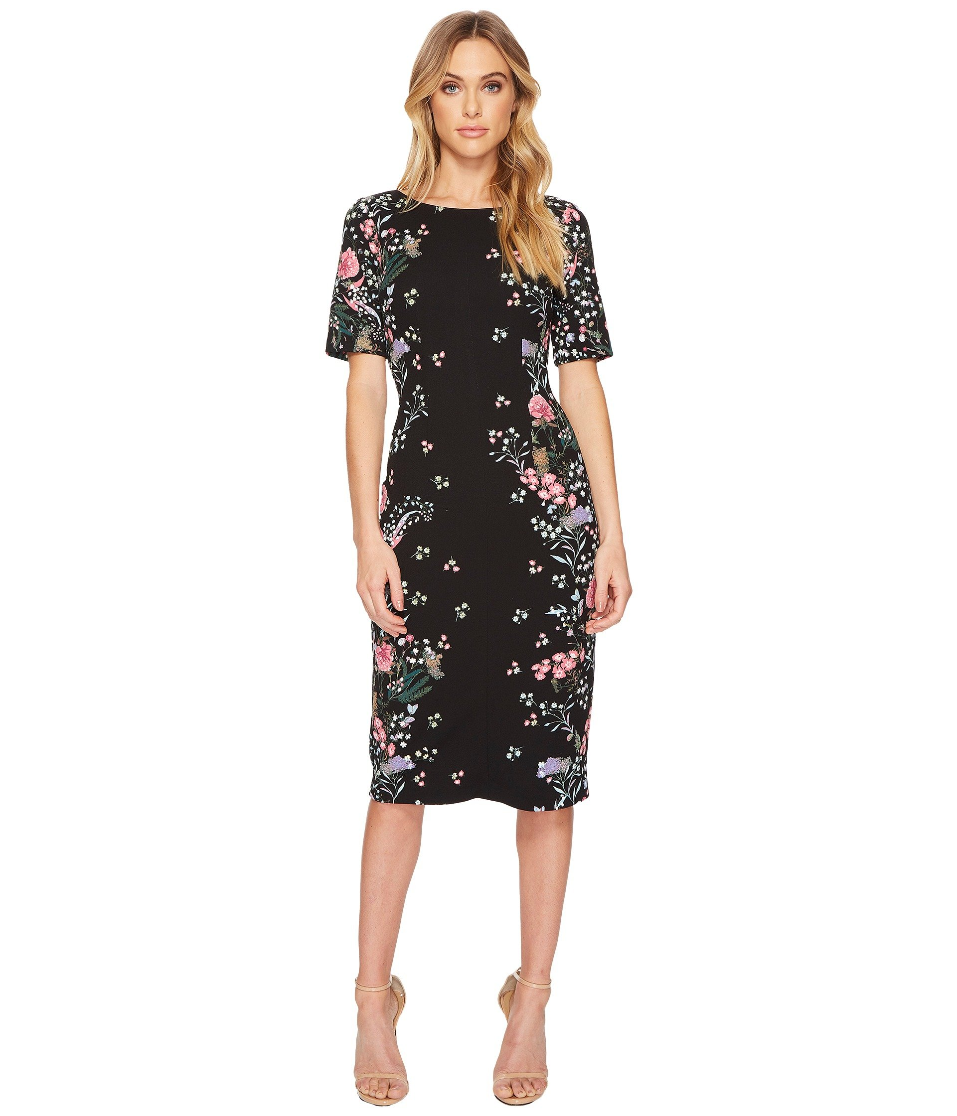 Adrianna Papell Women's Printed Sheath Midi Dress, Black/Multi, 6