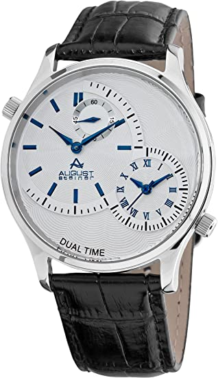August Steiner Hombre Acero Inoxidable Dual Time Reloj: Amazon.es: Relojes
