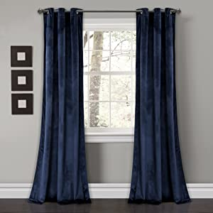 "Lush Decor Prima Velvet Curtains Solid Color Room Darkening Window Panel Set for Living, Dining, Bedroom (Pair) 84"" x 38"" Navy"