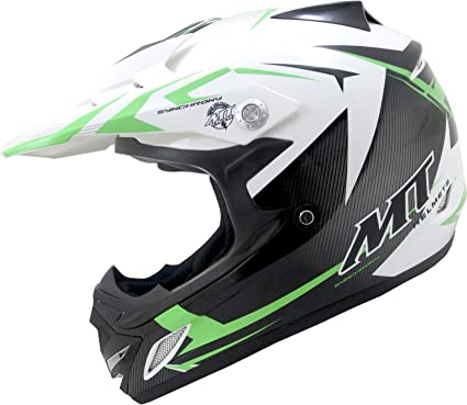 MT Synchrony MX6 Steel Kids Motocross Helmet L Black White Green