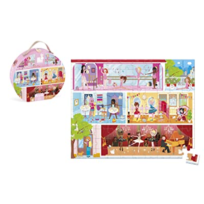 Janod 100 Piece Dance Academy Ballerina Floor Puzzle Toy – Mini Suitcase Styled Hat Box for Organized Storage – Store Everything Inside & Transport Everywhere – Cognitive Development – Ages 5 +: Toys & Games