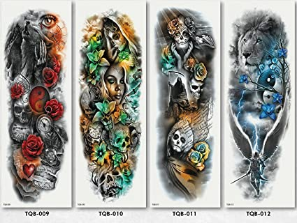 Temporales Tatuaje 4 Diferente hoja Brazo Cráneo Calavera Rosa Brújula tipo 03