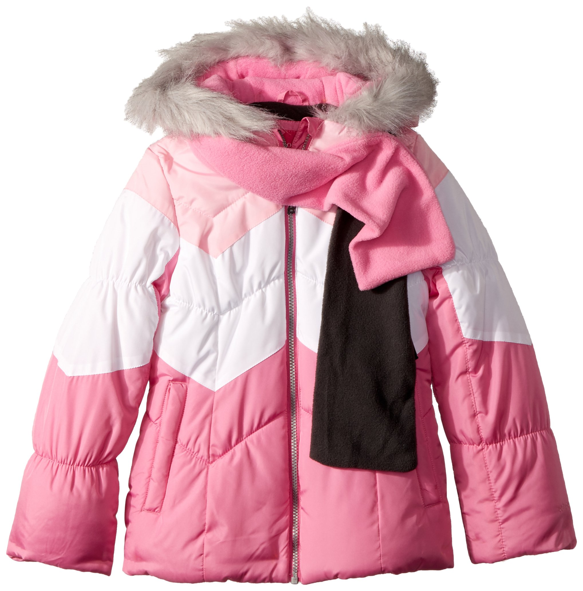London Fog Big Girls' Color Blocked Puffer Jacket Coat with Scarf, Fusion Pink, 10/12