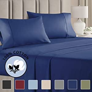 100% Cotton Queen Sheets Navy Blue (4pc) Silky Smooth, Cooling 400 Thread Count Long Staple Combed Cotton Queen Sheet Set – 400TC High Thread Count Queen Sheets - Queen Bed Sheets All Cotton