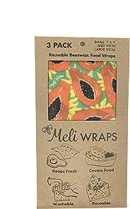 Meli Wraps Beeswax Wraps - Reusable Food Wrap Alternative to Plastic Wrap. Certified Organic Cotton, Naturally Antibacterial