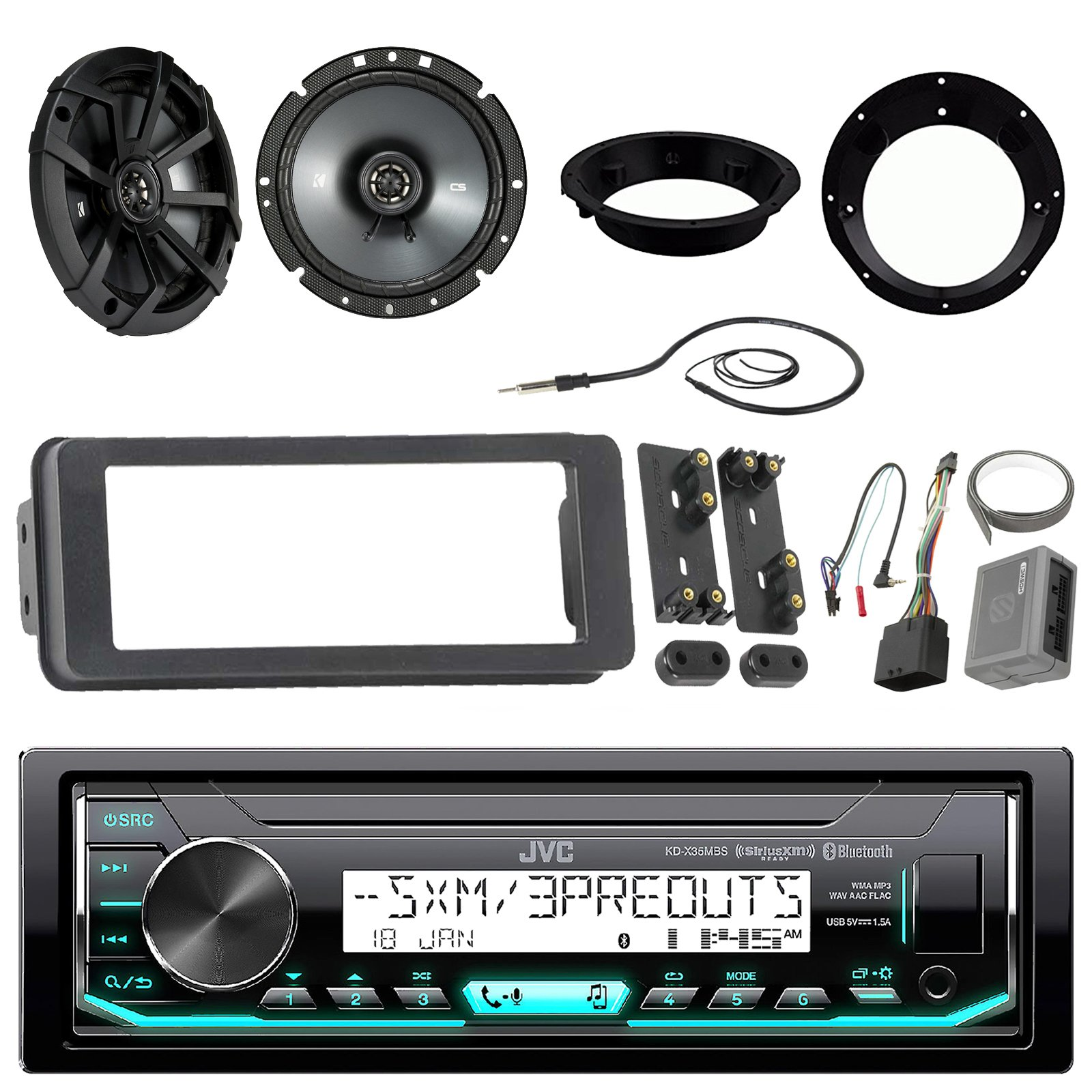 JVC KDX35MBS Marine Radio Stereo Receiver Bundle With 2 X Kicker 43CSC674 6-3/4'' CS-Series Black Car Speakers, Scosche Adapter Dash Kit With Handle Bar Control Module + Enrock Wire Antenna